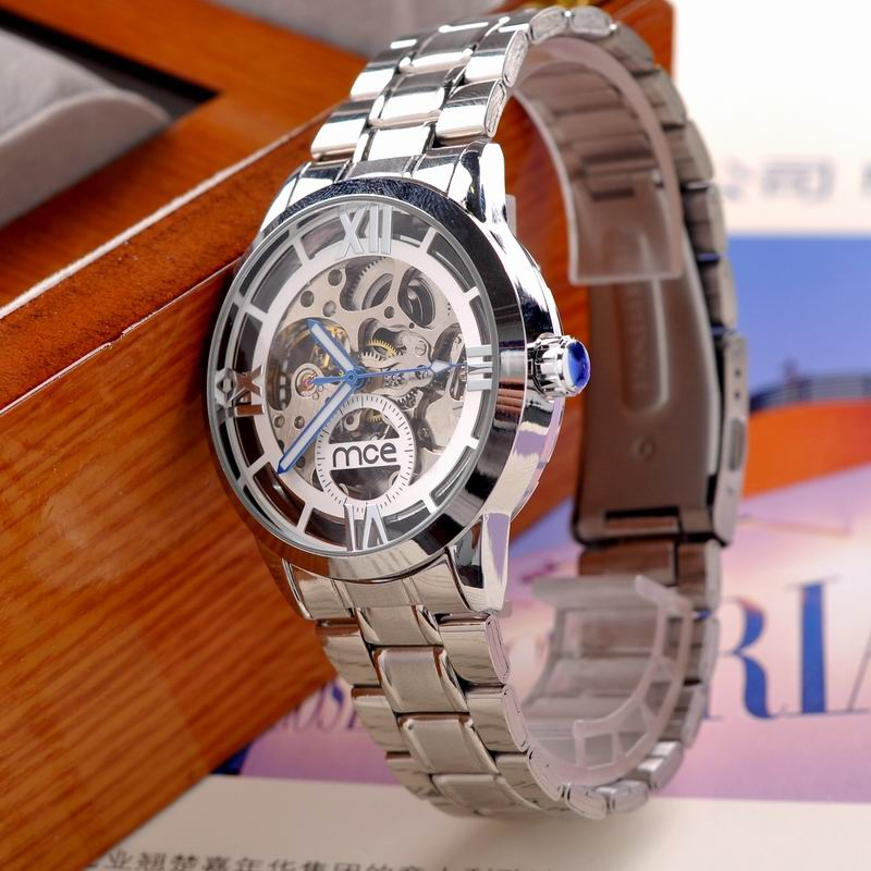 Luxury skeleton automatic mechanical wrist watch