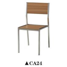 Chaise de salle à manger en bois courbé avec patte en acier inoxydable