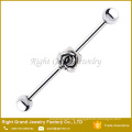316L Surgical Steel Silver Rose Charm Ear Industrial Barbell
