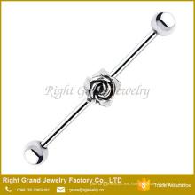 Barra industrial del oído del encanto de Rose del acero quirúrgico de la plata 316L