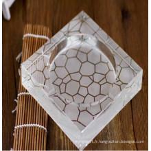 Cendrier en cristal gravé profond chaud de la Chine pour la décoration ou le cadeau