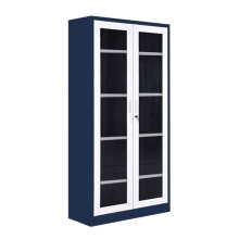 Library Glass 2-Door Office Metal File Cabinet Bookcase with lock