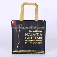 La tienda de comestibles no tejida laminada al por mayor reutilizable de encargo de la bolsa de asas de Eco para la promoción, supermercado