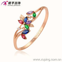 Fashion Jewelry Rose Gold-Plated Elegant Bangle with Colorful Flower Zircon