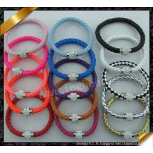 Bracelet en cuir le plus récent avec boule de cristal, bracelet en cuir, bijoux en cuir à vendre (FB0114)