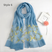 New arrival fashion guangzhou ladies long embroidered scarves and wraps emoidery headscarf for women