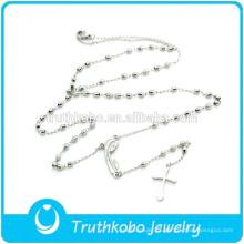 TKB-N0014 Nova Chegada mulheres finas jóias Madonna cruz rosário contas de prata pingentes de aço inoxidável 316L moda colar