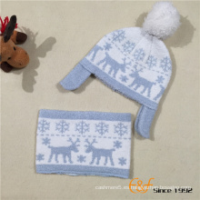 Navidad Jacquard tejido Hat Neckpiece para niños