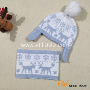Christmas Jacquard  Knitted Hat Neckpiece Set for Children