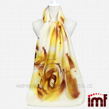 2014 hot sale new design hand painted yellow wool scarf