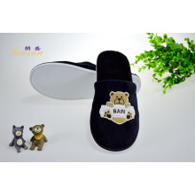 Black Cotton Velour Slipper Hotel Velvet Slipper