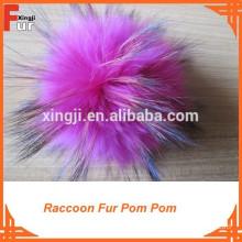 Fur Pompom on Beanie Hat Genuine Fur