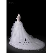 2017 vestido de novia vestido de novia sin mangas de encaje de tren largo de la boda