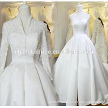 Длинный Поезд Атласная Свадебное Платье С Кружевом Куртка 2016 Новый Белый Без Бретелек Свадебное Бальное Платье