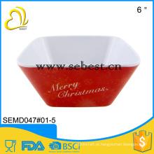 utensílios de mesa de baixo preço melamina servindo tigela de salada de natal