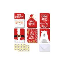 48 Envelopes Stickers for Gifts Caixa Cartões de Natal de 6 Designs, Urso Polar, Cartões de Natal de Papai Noel