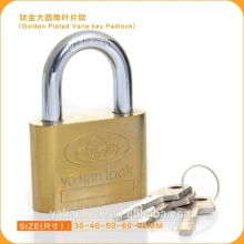 Hot Wholesale Golden Plated Iron Padlock With Vane Key