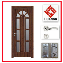 Latest Design PVC MDF Wooden Interior Doors with Glass Hb-010