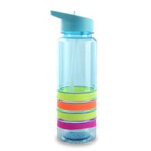 Botella de agua vendedora caliente libre de BPA de la categoría alimenticia con el cuerpo del círculo del silicio