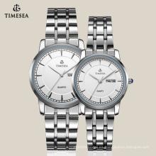 Reloj de diseño más nuevo para pareja con banda de acero inoxidable 70009