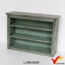 Verde Vintage Desgaste madeira Standing gabinete estilo Shoe Rack