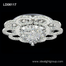 led ceiling silver chandelier round crystal led light