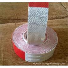 Reflexstreifen rot und weiß Streifenaufkleber rückseitig klebend
