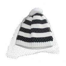 Strip Knitted Hat with Decorative Mesh (GKA0401-F00006)
