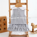 China factory baby girl clothes fashion ruffle soft cotton romper white and black stripped baby romper wholesale