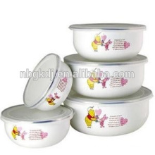 Japanese white cute enamel ice bowl with PE lids&shiny decals