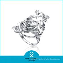 Anel de flores feitas à mão de prata do mais vendido