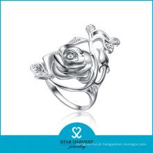 Genuíno anel de jóias de prata 925 flor com design personalizado (r-0065)