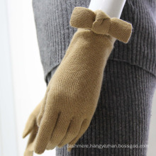 Women's Pure Cashmere skintight winter Gloves with bowknot