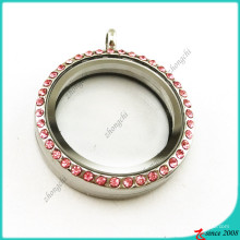 Pink Crsytal 30mm Round Glass Floating Locket (FL16041937)