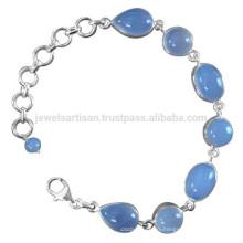 Beautiful Chalcedony Gemstone & Sterling Silver Handmade Link Chain Bracelet