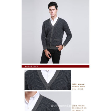 Yak Wool/Cashmere V Neck Cardigan Long Sleeve Sweater/Clothing/Knitwear/Garment