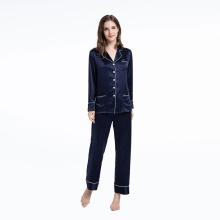 Conjuntos de pijamas de seda de lujo Pantalones de dos piezas para mujer
