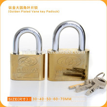 2015 FASHION DESIGN!!!New Golden Plated Vane Key Padlock
