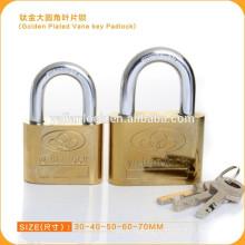 Дешевые Золотое покрытие Vane Key Padlock