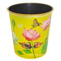 Plastic Lotus Prited Yellow Open Top Garbage Bin (B06-930NEW)