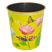 Plastik Lotus Prited Gelb Open Top Müllcontainer (B06-930NEW)