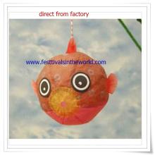 Lanterna de papel pendurada para decoração de peixe dourado