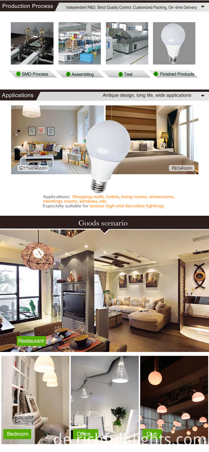 LED Bulb A60 Save Energy E27 White 5W Glass LED Globe Light