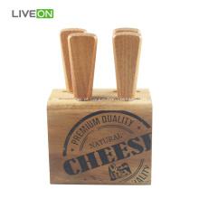 Faca de queijo com bloco de madeira de acácia