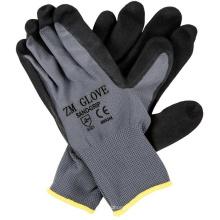 Gants enduits noirs de nitrile de Sandy de revêtement de polyester de 13 mesures avec la paume plongée