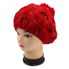 Luxurious Vintage Hand Knitted Beret Hat with POM POM