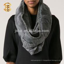 Achat en gros de la qualité de la mode gris gris écharpe en laine à la fourrure en fourreau