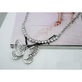 Fashion Zinc Alloy Butterfly Charm Pendants Sweater Chain Necklace
