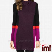 Suéter de cachemira de cuello alto suéter de color de combinación