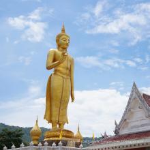 Laiton antique 3 pieds de haut taille thaïlandaise statue de Bouddha